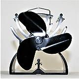 HeuSa Tech Ventilator für Kaminöfen, Ofenventilator, Kaminventilator, schwarz, 3 Rotorblätter, 12,5 cm umweltfreundlich- stromlos mit Tragegriff