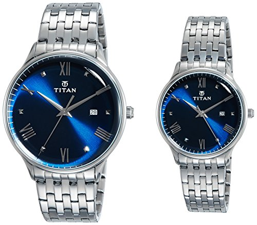 Titan Bandhan Analog Blue Dial Couple Watch - 9400194201SM01 image