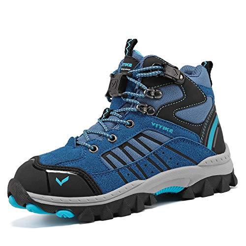 ASHION Wanderschuhe Winterschuhe Kinder Mid Schneestiefel Trekking Wanderstiefel Stiefel Jungen Baumwollschuhe(38 EU,6 Blau)