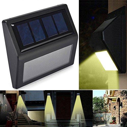 mxjeeio LED Solar Licht Sensor Licht Wand Garten Licht Garten Treppe Deck Licht Warmes Weißes Licht (einschließlich 2x schrauben) -