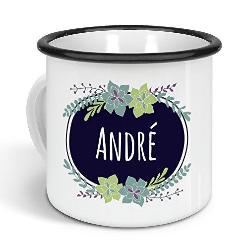 printplanet - Emaille-Tasse mit Namen André - Metallbecher mit Design Flowers - Nostalgie-Becher, Camping-Tasse, Blechtasse, Farbe Schwarz, 300ml -