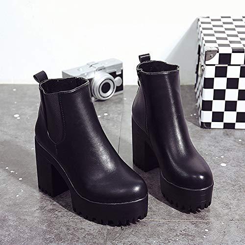 87475da8f3 POLP Botas Tacon Zapato Mujer Tacon Ancho Zapatos señora Invierno Botas de.