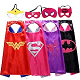 niñas de 3-10 años, Juguetes de superhéroes para niñas Superhero Cape Girl Kids Dress Up for Girls Regalos de cumpleaños para niñas Cartoon Cape Mask Toddler Superhero Cape Pack 4#Girl MMEPF05