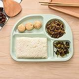Formulaone Weizenstroh Fiber Dinner Plate unterteilt Dining Dish Snack Fach Frühstück Gerichte für Kinder Küche Geschirr - grün