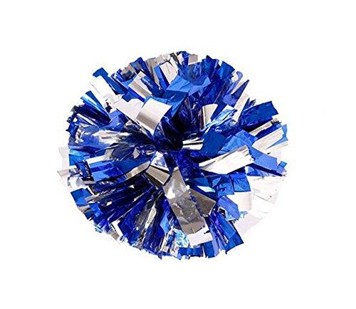2von Kunststoff Cheerleader Cheerleading Pom Poms Metallic Folie und Kunststoff Ring Pom Sports Party Kostüm Zubehör Set Ball Dance Fancy Kleid Night Party Sport Pompons, Blue+Siliver