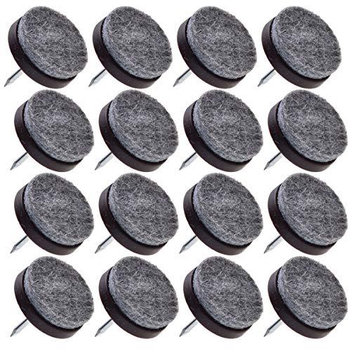 Espresso-fliesen-böden (16 Stück - mittelgroße Espresso-Farbe - strapazierfähige Filzgleiter für Stühle, Tisch, Hocker, Schublade, Kleiderschrank - Hartholz, Fliesenbodenschutz)
