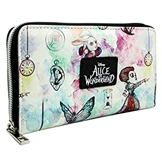 Alice In Wonderland Through The Looking Glass Coin & Card White Clutch Purse