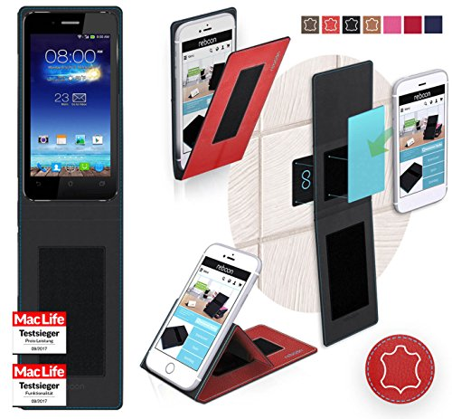 reboon Hülle für ASUS PadFone Mini 4.3 Tasche Cover Case Bumper   Rot Leder   Testsieger