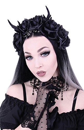 Restyle Gothic Prinzessin Girlande Nu Goth Rosen Geweih Stirnband - Schwarz (One size)