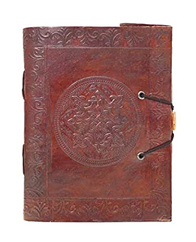 Zap Impex ® Handgefertigte echtes Leder Style Dry Mount Album, geprägt Runde Chakra Fotoalbum, Galerie-Album, Leder Tagebuch Größe Album handgefertigt in Indien (7 x 5) Zoll