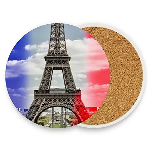 Untersetzer aus Keramik, Motiv: Frankreich-Flagge, Eiffelturm, rund, saugfähig, für Zuhause, Büro, Bar, Küche (Set von 1 Stück), keramik, multi, 2er-Set