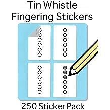 Tin Whistle, Basuri & Flauta nativa americana (digitación Set de adhesivos (250unidades) Súper Práctico para los estudiantes y profesores.