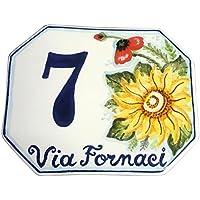 CERAMICHE D'ARTE PARRINI- Ceramica italiana artistica numero civico in ceramica 15x12 personalizzato decorazione girasole e papavero mattonella fatta a mano made in ITALY Toscana