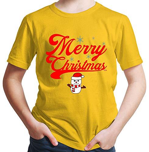 HARIZ  Jungen T-Shirt Weihnachten Merry Christmas Stadt Weihnachten Weihnachts Schnee Winter Plus Geschenkkarte Gold Gelb 164/14-15 Jahre (Kostüm Elf Party-stadt)