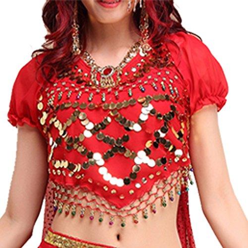 Best Dance Damen Bauchtanz Kostüme Laterne Bluse Top mit Pailletten Perlen (Kostüme Sexy Glocke)