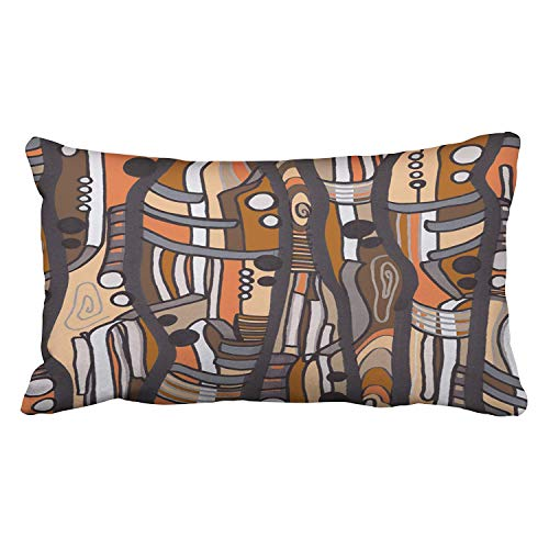 Jazzy Abstract earthtones Pillow Cushions Case Throw Pillow Cover for Sofa Home Decorative Pillowslip Gift Ideas Household Pillowcase Zippered Pillow Covers 18X18Inch