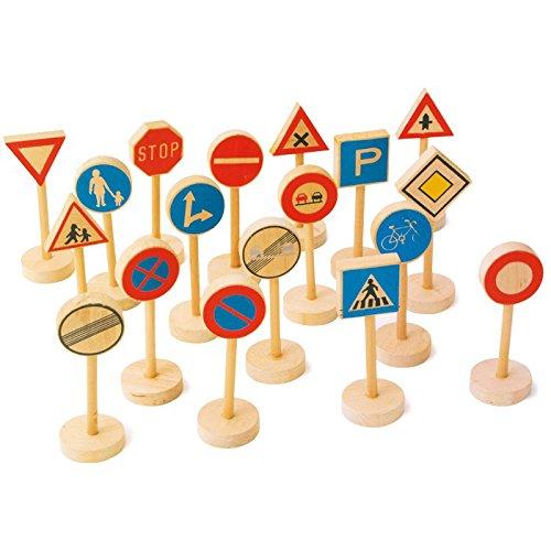 Verkehrsschilder aus Holz, 18-tlg. Zubehör Set, verschiedene Straßenverkehrsregeln spielerisch erlernen