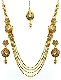 Quail Fashion Jewellery Gold Plated Kundan 4 String Necklace Set For Women Traditional Wedding With Earings &...