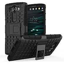 LG V10 Funda - MoKo Heavy Duty Rugged Dual Layer Armor with Kickstand Protective Funda para LG V10 5.7 Inch Smartphone 2015 Release, Negro