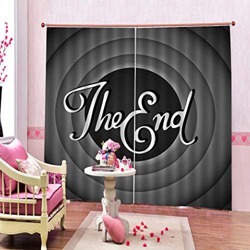 JHSH Vorhang Polyester Logo Wohnzimmer Dauerhafte Schattierung Druck Dekoration 2 Panel Ohne Stab2x135cmx225cm