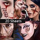 Dream Loom 20 Stücke Halloween Tattoos, Zombie Narben Vampir Wund Tattoos, Make-Up Für Halloween Party Prop und Cosplay Aufkleber (Zombie Tattoos)