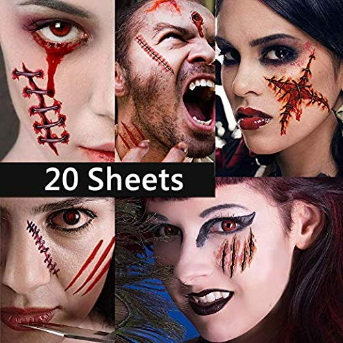 Dream Loom 20 Stücke Halloween Tattoos, Zombie Narben Vampir Wund Tattoos, Make-Up Für Halloween Party Prop und Cosplay Aufkleber (Zombie Tattoos)