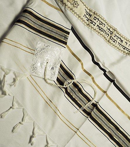 Preisvergleich Produktbild Kosher Gebetsschal Tallith für jüdische Männer (Koscher Talit) aus Acryl aus Israel :Talitnia Keter Malchut,  Schwarz und Gold