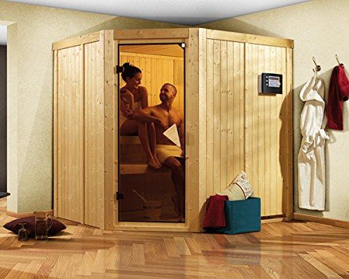 Karibu Sauna Siirin inkl. 9-kW-Ofen mit interner Steuerung, ohne Dachkranz, mit moderner Saunatür