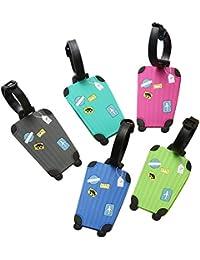 kentop 5stk maletín colgante silicona para equipaje Mini para maletero Forma de viaje Maleta (con etiqueta para direcciones y nombre
