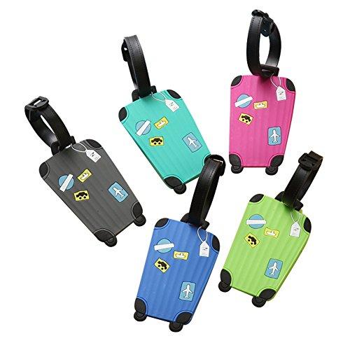 Dosige 5 Stück Kofferanhänger mit Namensschild Bunt Flugzeug Gepäckanhänger aus Silikon Luggage Tag Gegen Verloren Zufällige Farbe 10.5cm*6.5cm