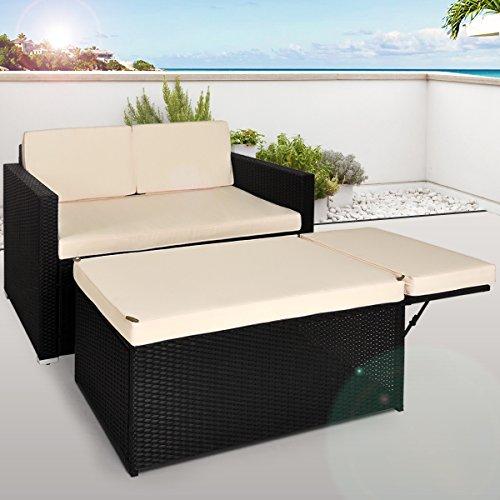 Deuba Poly Rattan Lounge Sofa 2 Sitzer I Ottomane mit Stauraum I Dicke Auflagen I Schwarz Couch Sonnenliege Gartenmöbel