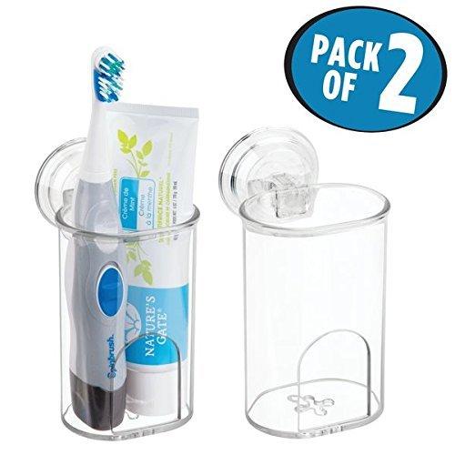 mDesign 2er-Set Zahnbürstenhalter Saugnapf fürs Badezimmer – Zahnbürstenhalterung & Rasiererhalter aus Kunststoff – für manuelle & elektrische Zahnbürsten, Rasierer, Zahnpasta – durchsichtig
