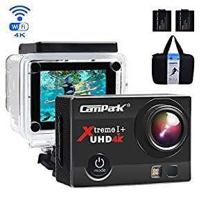 Campark ACT74 Action Camera 4K 16MP Wi-Fi Sport Cam Underwater 30M Diving Camcorder with 2.0 Inch LCD Screen 170° Wide Angle(£19 Gift Included - Portable Case + 2 Batteries)