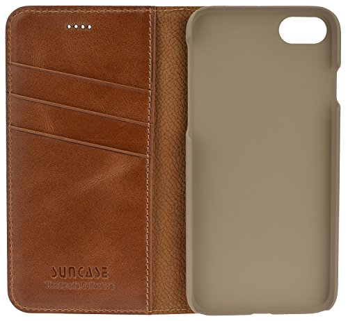 iPhone 8 / iPhone 7 - Suncase Handmade Book-Style (Slim-Fit) aus echtem Leder Tasche Schutzhülle Wallet Case Hülle coffee cognac