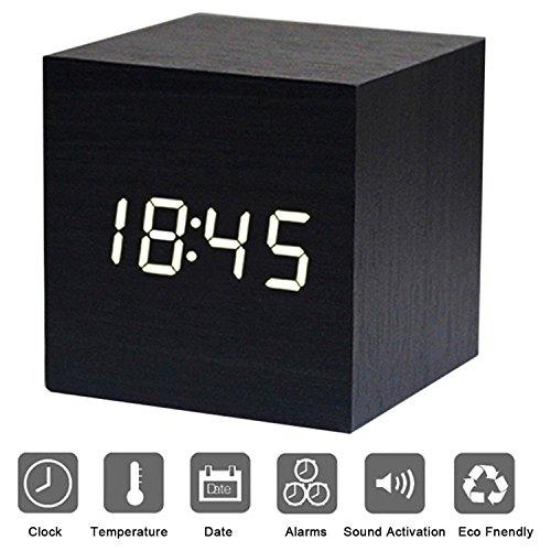 Reloj Despertador Cubo LED Cubo de Madera Bambú Mini LED Verde Madera Tiempo Digital Temperatura Visualización de la Fecha - Voz y Toque Activado USB / AAA (Negro)