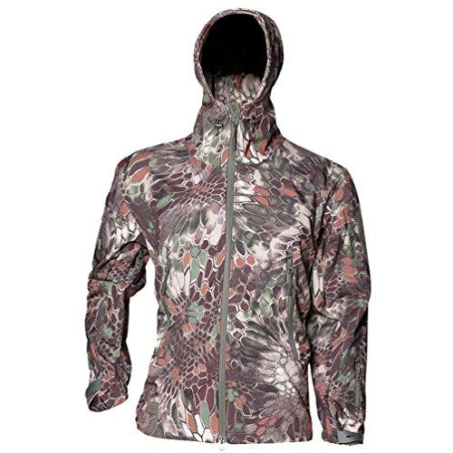 YuanDian Herren Taktisch Softshell Fleecejacke Camouflage Militär Hoodie Outdoor Wandern Camping...