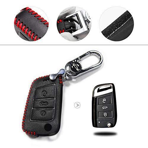 Muchkey Kfz-Schlüsseletui Schlüssel Hülle Leder Auto Schlüsseltasche mit schlüsselanhänger für Golf 7 Passat Tiguan Bora Polo Sitz Leon Ibiza Fold 3 Tasten Schlüssel Rot Nähen 1 Stück