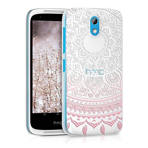 kwmobile HTC Desire 526G Hülle - Handyhülle für HTC Desire 526G - Handy Case in Rosa Weiß Transparent