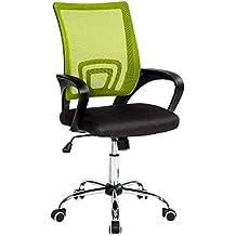TecTake Silla de oficina giratoria con soporte lumbar sillón ejecutivo silla de escritorio tejid - disponible en diferentes colores - (Negro Verde   No. 401790)