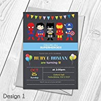 Personalised Superhero Invitations | Joint or Single Birthday Party Invites