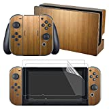 eXtremeRate Nintendo Switch Sticker Skin Folie Abziehbild Aufkleber Faceplates Decal Klebefolie mit 2 Displayschutzfolie für Nintendo Switch Console&Joy-Con&Dock&Grip(Holz)