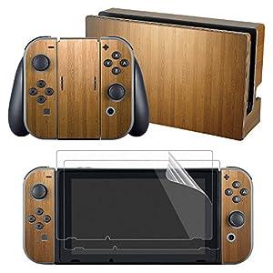 eXtremeRate Sticker Skin Aufkleber Decal Folie Abziehbild Faceplates Klebefolie mit 2 Displayschutzfolie für Nintendo Switch Console&Joy-Con&Dock&Grip(Holz-Optik)