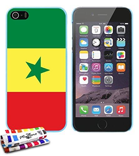 Ultraflache weiche Schutzhülle APPLE IPHONE 5S / IPHONE SE [Flagge Senegal] [Grun] von MUZZANO + STIFT und MICROFASERTUCH MUZZANO® GRATIS - Das ULTIMATIVE, ELEGANTE UND LANGLEBIGE Schutz-Case für Ihr  Lagunenblau