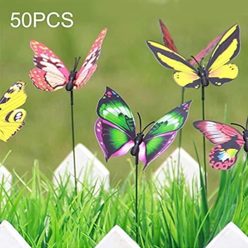 Fenghezhanouzhou 50 PCS Coloré Papillons Jardin Ornement Pot De Fleurs Plante Décor Papillon Bâton Jardin Décoration Simulation Papillon Couleur Aléatoire Livraison