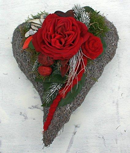 FRI-Collection Grabschmuck Herz mit Roter Rose #47221