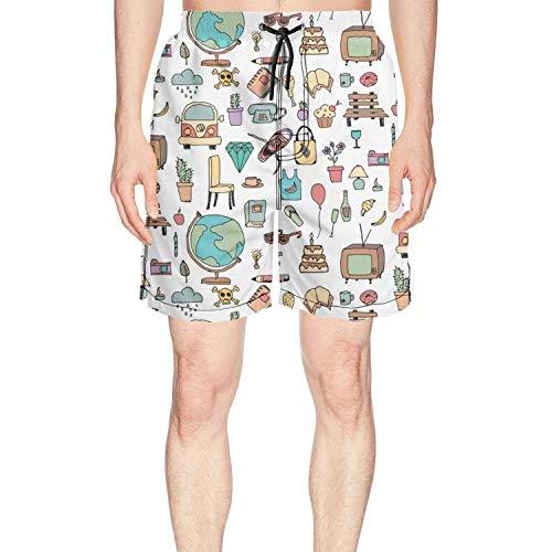 Patterned Cartoon Life Diamonds Loose Men Short Beach Shorts,Size:X-Large -