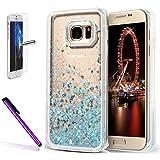 Newstars Custodia rigida trasparente con liquido e glitter, per Samsung Galaxy S7, con salvaschermo in vetro temperato e pennino capacitivo inclusi, glitter fluttuante in plastica a forma di cuoricini