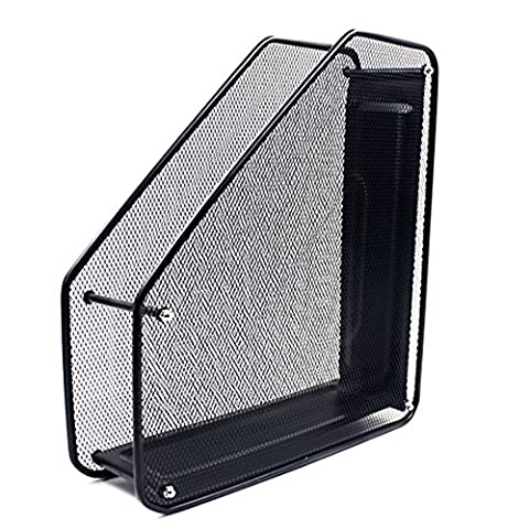 Porte-revue en maille, Sayeec Filet solide Triple/Compartiment Unique Magazine Document classeur à levier support pour Office Home Organiseur de cuisine Rack – Noir Black-Single Compartment