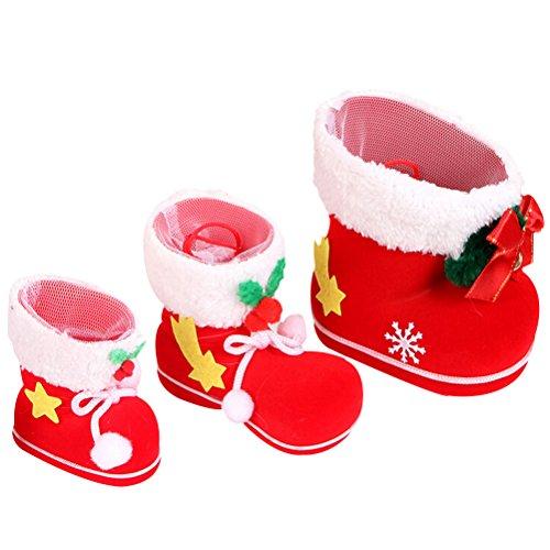 Pixnor Xmas Candy Stiefel Boots Weihnachtsdekoration Beflockung Schmuck Geschenke Strümpfe Snacks Stift Container Paket Taschen für Weihnachtsbaum oder Kinderzimmer 3pcs mit unterschiedlicher Größe
