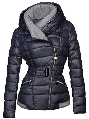 Designer giacca invernale da donna corta cappuccio colletto piumino effetto trapuntato giacca da sci Dunkelblau s